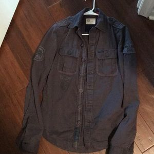 Super dry gray button down